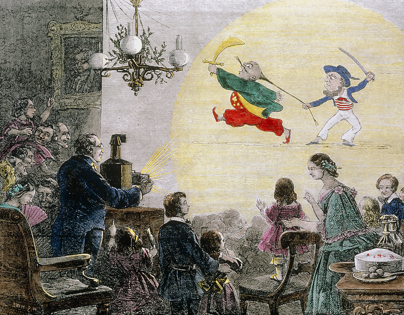 Coloured historical artwork of magic lantern show