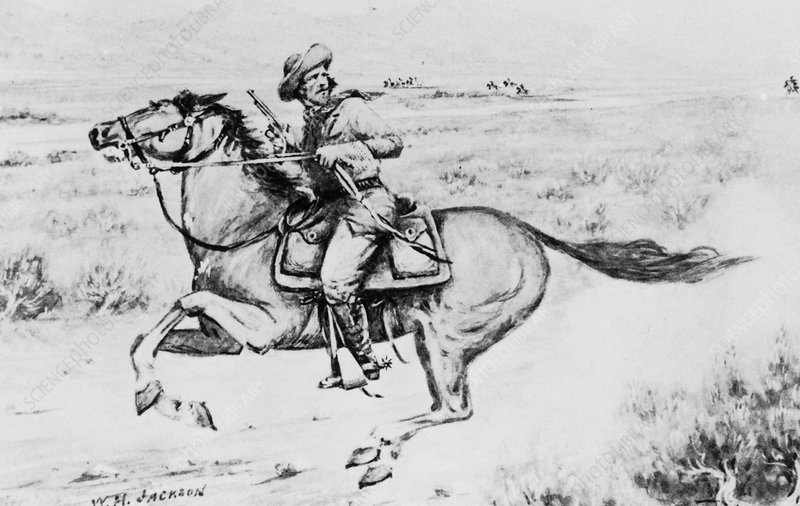 Historical artwork of a Pony Express rider