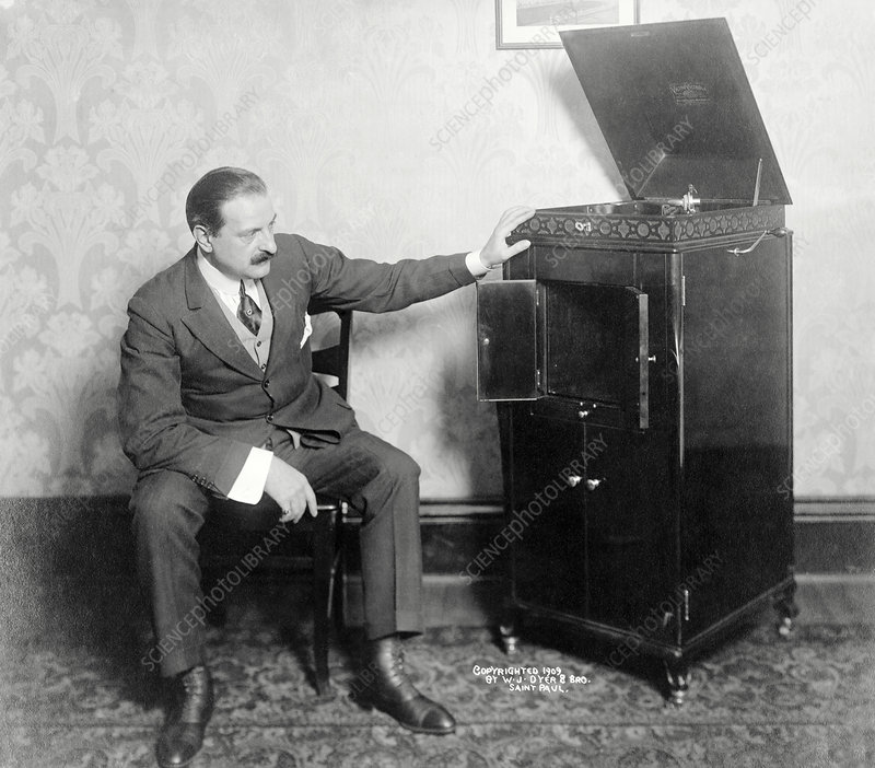 Man with phonograph