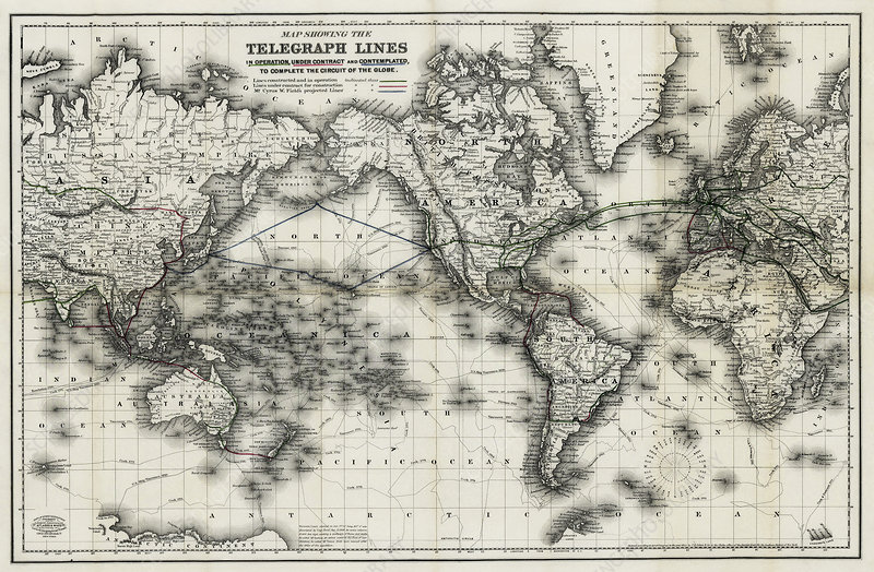 Mid 19th Century global telegraph lines