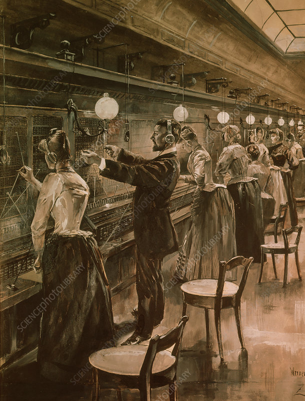 Illustration of Berlin telephone exchange in 1890