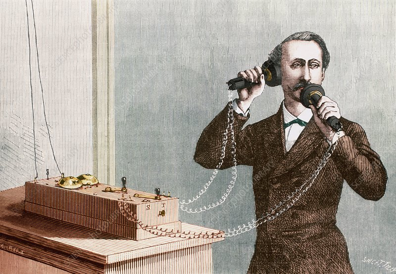 Historical artwork of a man using a Bell telephone