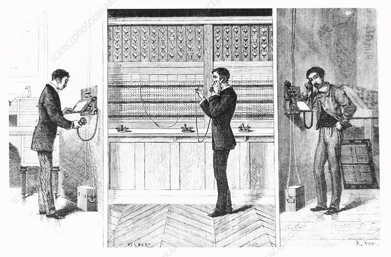 Historical artwork explaining the telephone