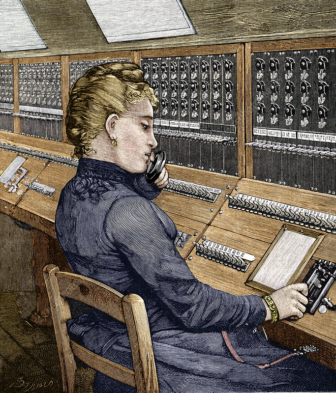 Telephone operator, 19th century