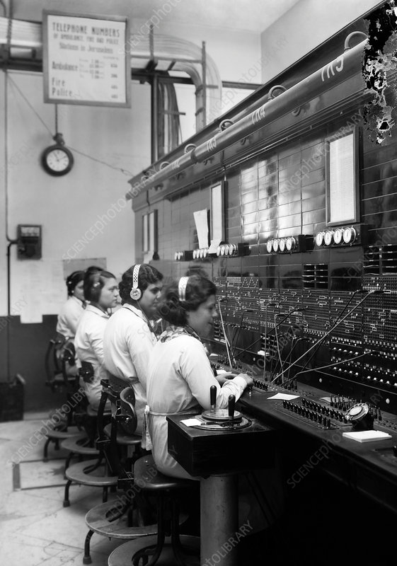 Early 20th-century telephone switchboard