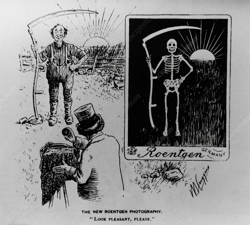 Cartoon of Roentgen taking X-ray of a farmer