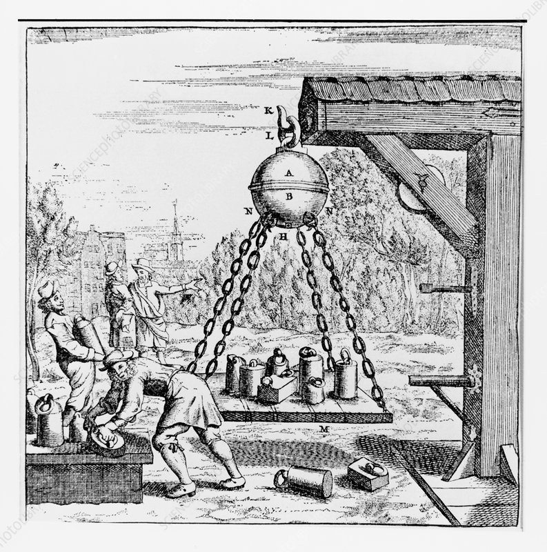 Artwork of vacuum experiment conducted by Guericke