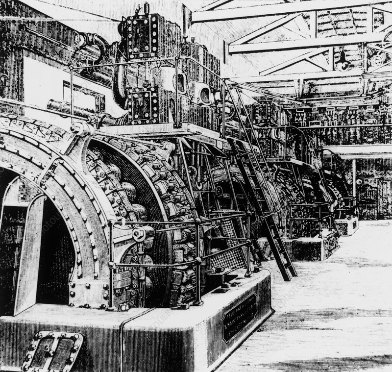 Engraving of generators in a 19th C. power station
