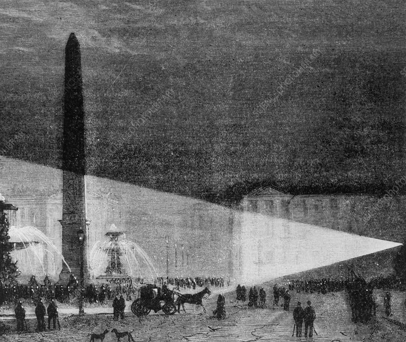 The 1st experimental street lighting, Paris, 1844