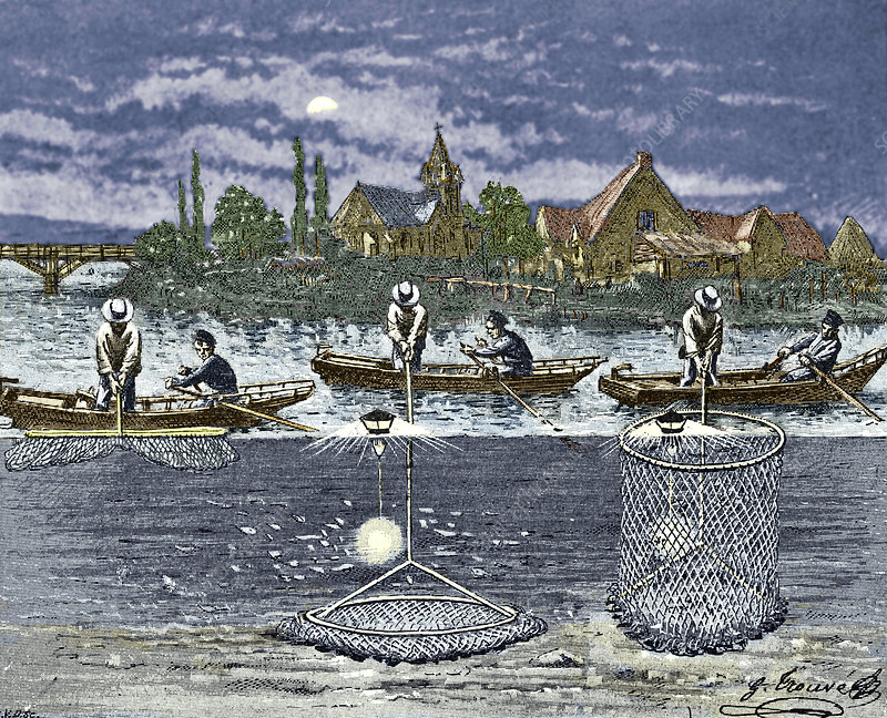 Electric lights for fishing, 1900