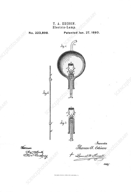 Edison's light bulb patent, 1880