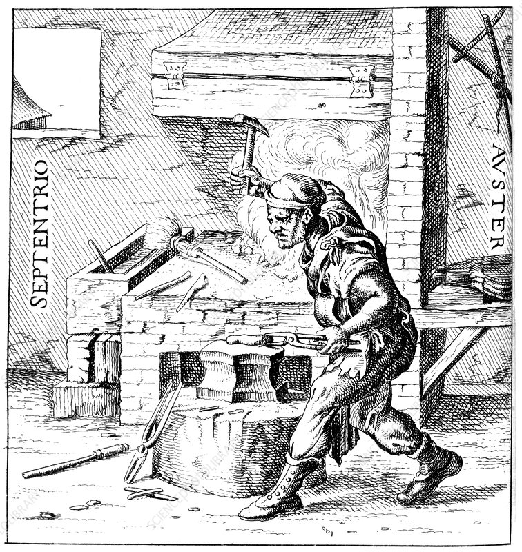 Blacksmith making a magnet, 1633