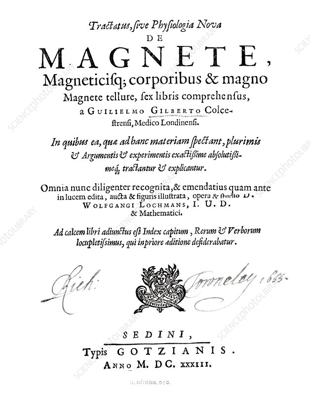 Gilbert's book on magnetism, 1633