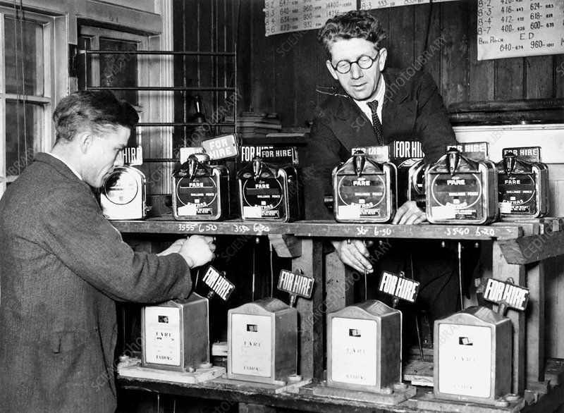 Testing taxi meters, 1920s