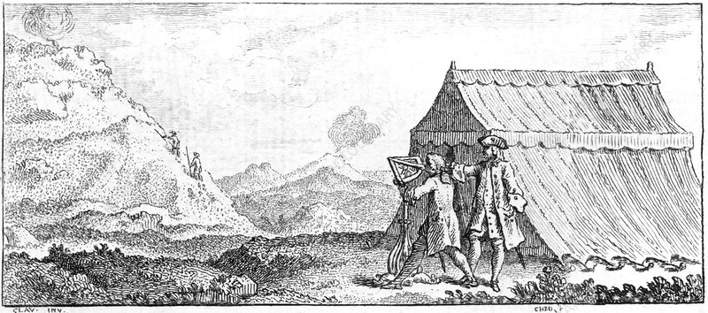Surveying the height of a mountain, 1751