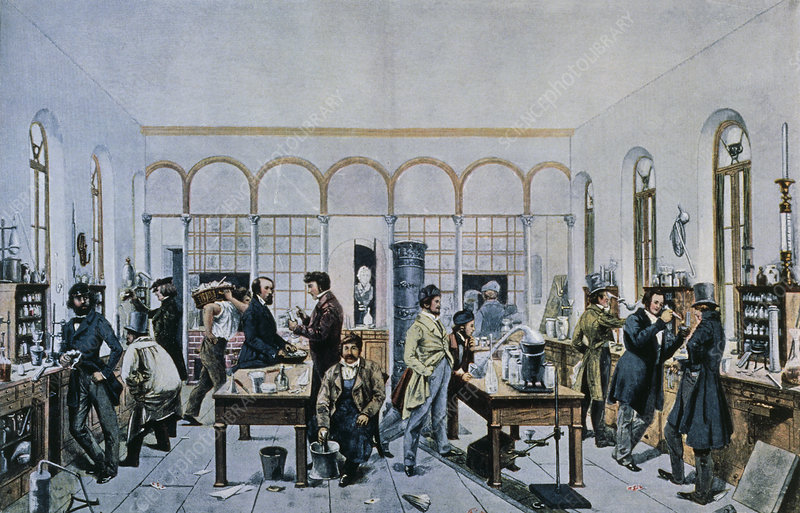 Illustration showing Liebig's teaching Laboratory