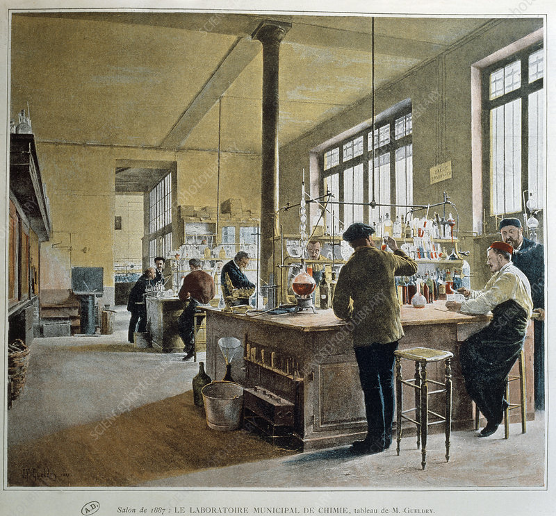 Painting of Municipal Chemistry Lab, Paris, 1887.