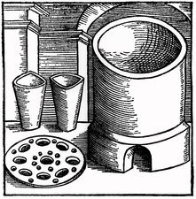 Furnace and crucibles used for the fusion of metal