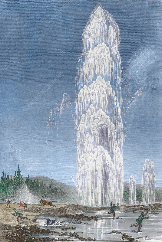 Historical artwork of Grand Geyser, Yellowstone