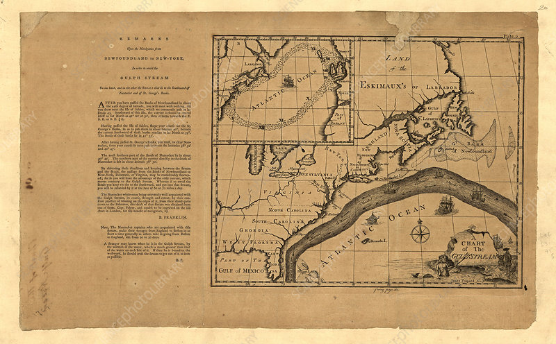 Franklin's map of the Gulf Stream, 1786