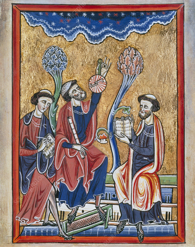 Astromers observing the heavens from 13th C. book