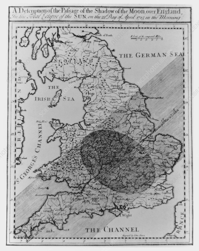 Halley's map of the shadow of an eclipse over UK