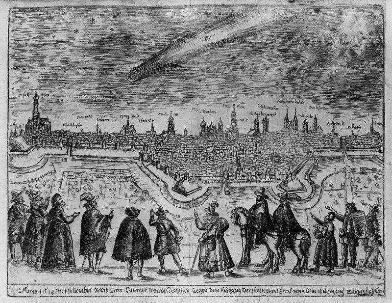 Engraving of a comet streaking over Augsburg, 1618