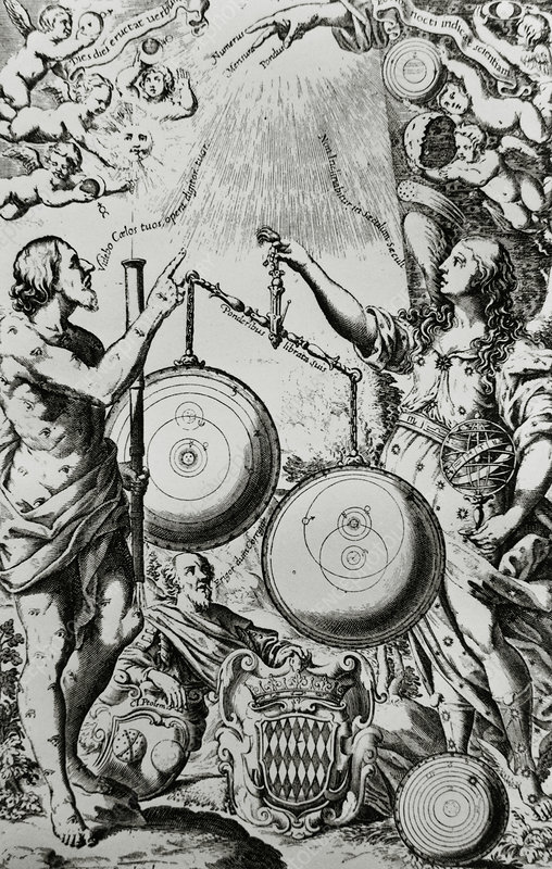 Engraving of the Copernican and Ptolemaic systems