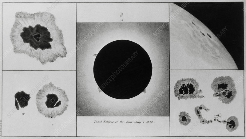 Drawings of total solar eclipse (1842) by Herschel