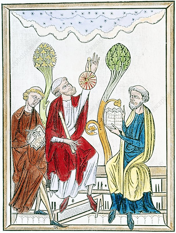 Coloured artwork of 13th century astronomy lecture