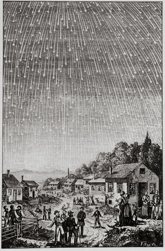 Historical artwork of Leonid meteor shower of 1833