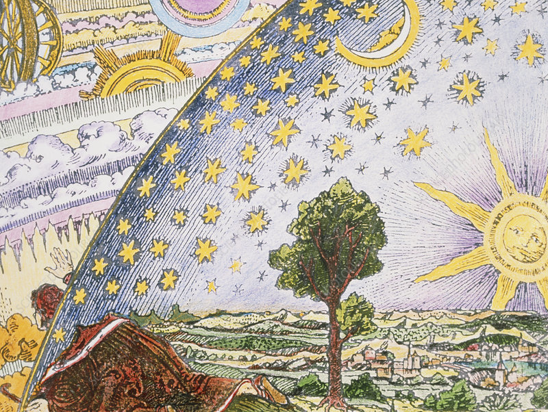 Historical artwork of the mechanics of the heavens
