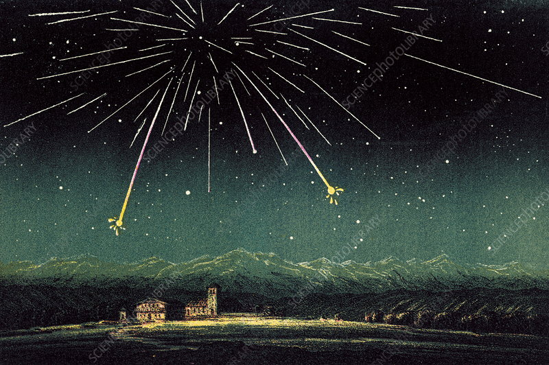 Meteor shower, historical artwork