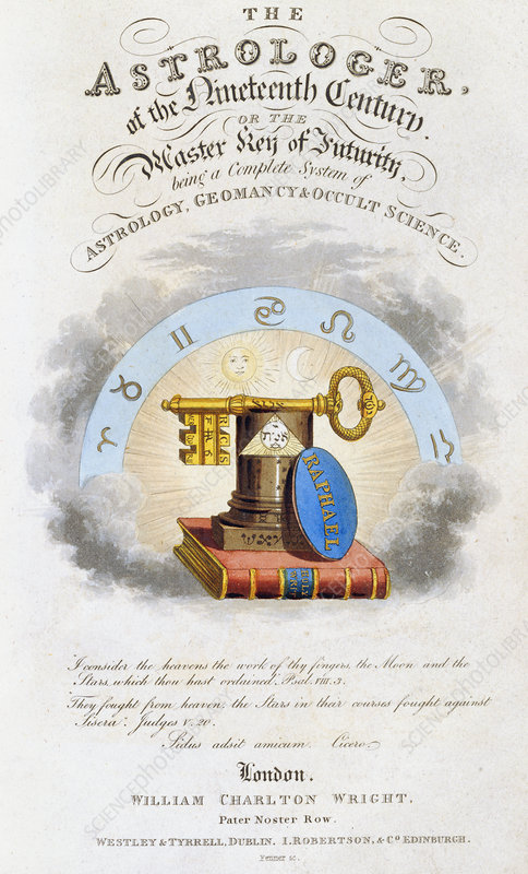 Astrology book title page, 1825