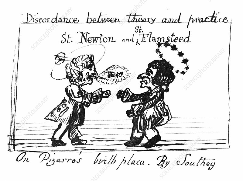 Caricature of Newton and Flamsteed