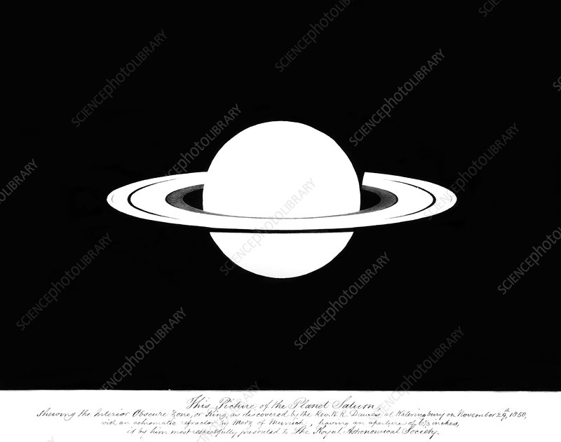 Drawing of Saturn by William Rutter Dawes
