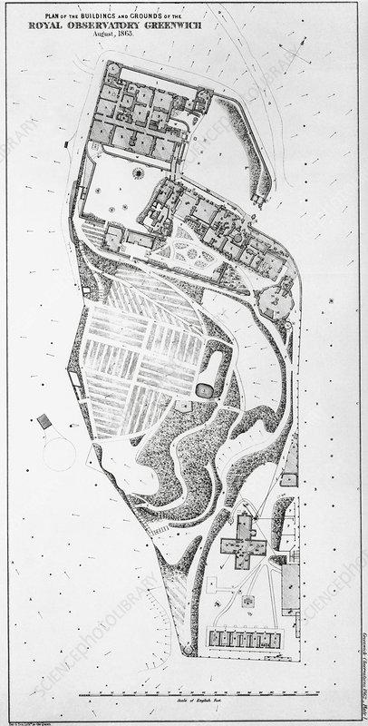 Royal Observatory, Greenwich, 1863 map