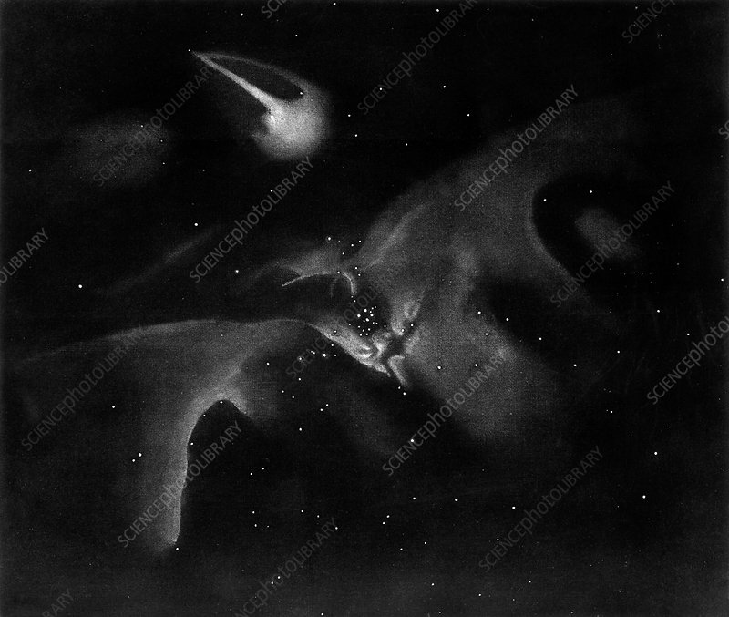 Lassell's engraving of Orion, 1854