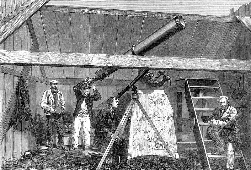 Total solar eclipse observation, 1869