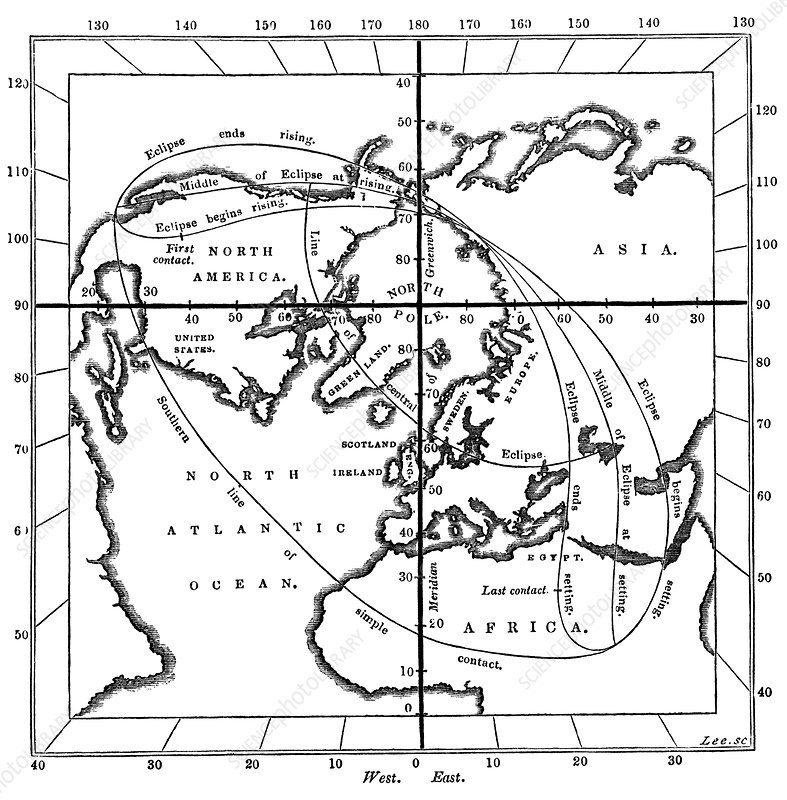 Total solar eclipse map, 1851 - Stock Image - V700/0312 ... on map of octopus, map of ellipse, map of charon, map of pharos, map of generations, map of citation, map of flipside, map of pioneer, map of last airbender, map of mongo, map of pandemic, map of galant, map of flight 93, map of i am america, map of python, map of alexander, map of europa barbarorum, map of clear, map of the realm, map of luna,