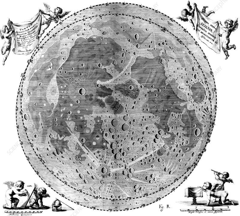 Hevelius's Moon map, 1654