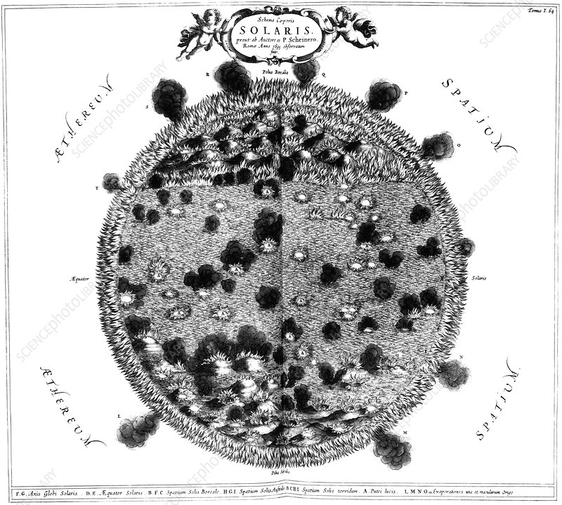 Kircher's drawing of the Sun, 1678