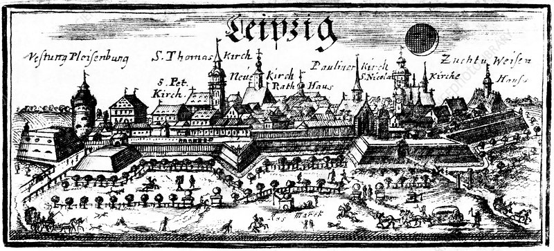 Leipzig during a solar eclipse, 1715
