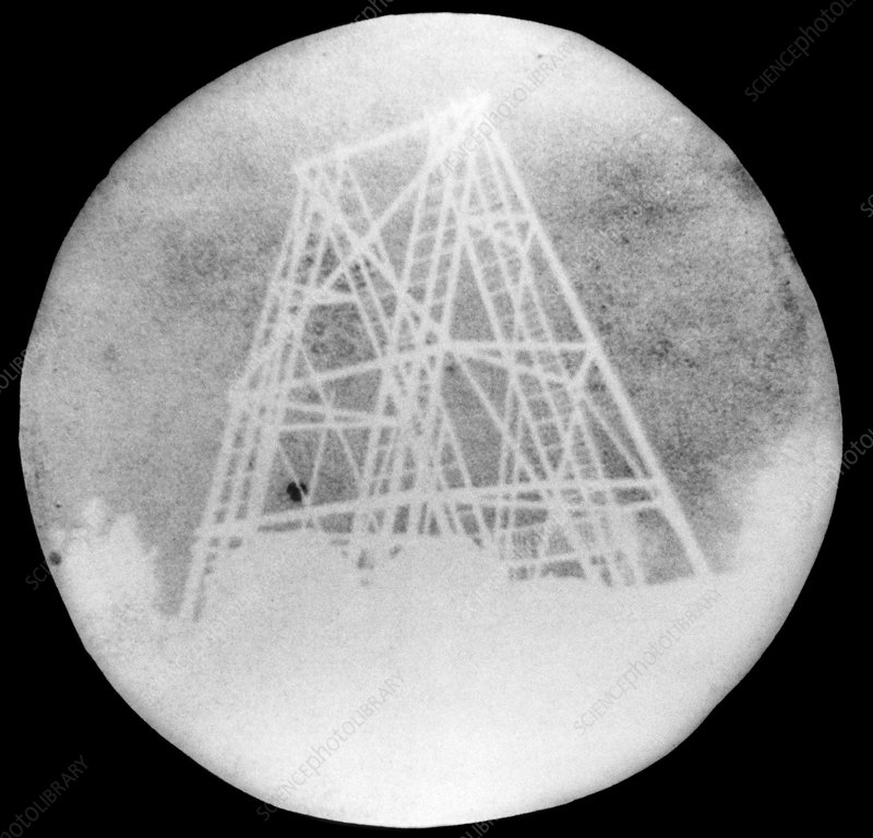 Paper negative of Herschel's telescope, 1839