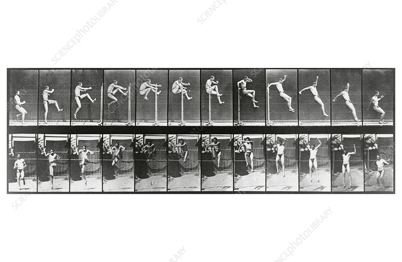 High-speed sequence of a man doing the high jump