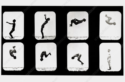 High-speed sequence of a man doing back somersault