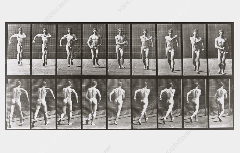 High-speed sequence of a male athlete walking