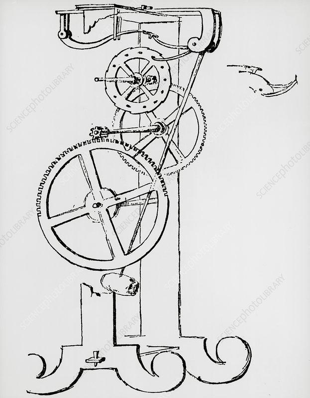 Galileo's pendulum clock (first drawing) - Stock Image