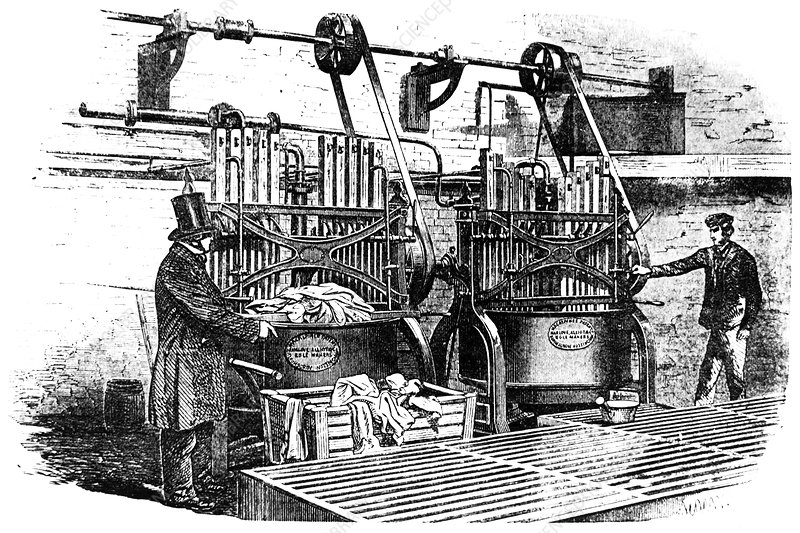Engraving of a steam-driven washing machine