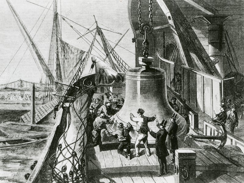 Art of large bell being unloaded, London, England